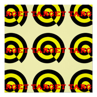 Target poster in red black yellow on pale yellow b