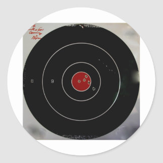 TARGET PRACTICE FUNNY PHRASES 1 CLASSIC ROUND STICKER