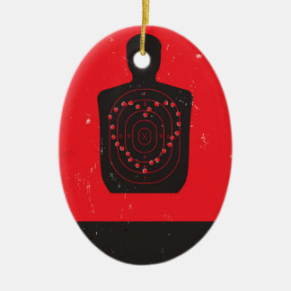 Target Practice Heart Double-Sided Oval Ceramic Christmas Ornament