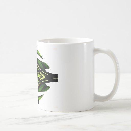 Target Style Neon Green Urban Futurism Design Classic White Coffee Mug