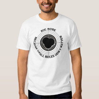 Target with large bullet holes - big bore t-shirts