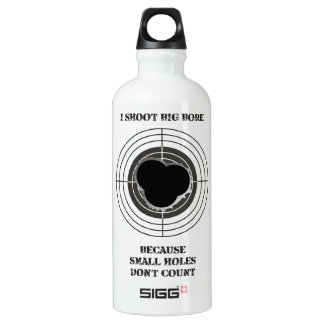 Target with large bullet holes - big bore water bottle