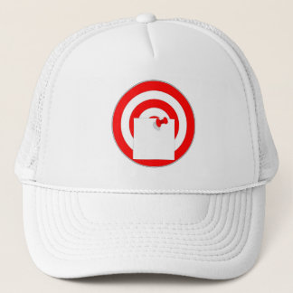 Target with note note trucker hat