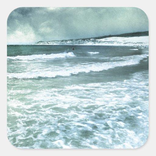 Tarifa beach calcomanía cuadradas personalizadas