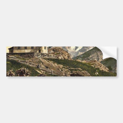 Tarifa de Saas, iglesia y Rimpfischhorn, Valais, m Pegatina De Parachoque