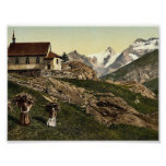 Tarifa de Saas, iglesia y Rimpfischhorn, Valais, m Poster