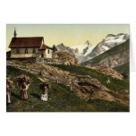 Tarifa de Saas, iglesia y Rimpfischhorn, Valais, m Felicitacion