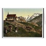 Tarifa de Saas, iglesia y Rimpfischhorn, Valais, m Tarjeta