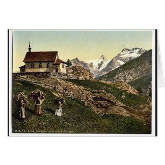 Tarifa de Saas iglesia y Rimpfischhorn Valais m Tarjeta