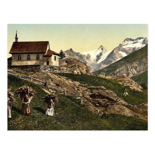 Tarifa de Saas, iglesia y Rimpfischhorn, Valais, m Postal