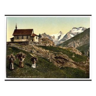 Tarifa de Saas iglesia y Rimpfischhorn Valais m Postales