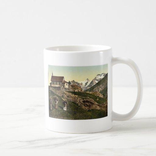 Tarifa de Saas, iglesia y Rimpfischhorn, Valais, m Taza De Café