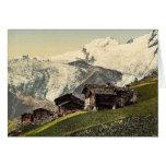 Tarifa de Saas, visión alpina, Valais, montañas de Tarjeta