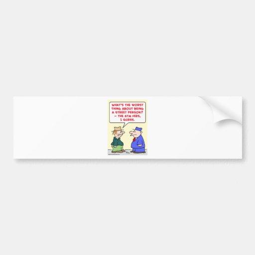 tarifas de la atmósfera de la persona de calle etiqueta de parachoque