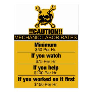 Tarifas de trabajo del mecánico - precaución tarjeta postal