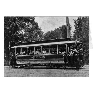 Tarjeta 1900 de felicitación ferroviaria de la car