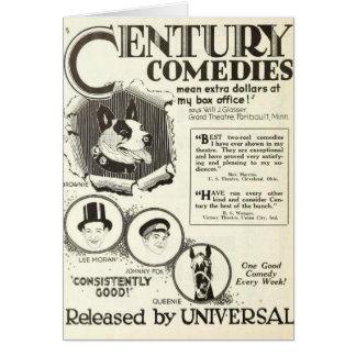 Tarjeta 1922 de felicitación animal de los actores