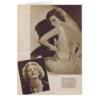 Tarjeta 1933 del retrato del vintage de Elissa Lan