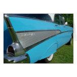 Tarjeta 1957 de felicitación de Chevy del azul