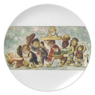 Tarjeta 1964 de felicitación de Jesús del bebé de  Plato