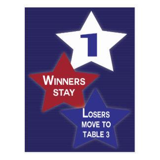 Tarjeta #1 de la tabla de Bunco de las estrellas Tarjetas Postales