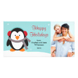 Tarjeta 2010 de la foto del pingüino del navidad tarjeta fotografica personalizada