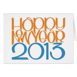 Tarjeta 2013 del azul de la mandarina de la Feliz