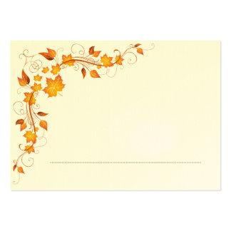 Tarjeta 2 del lugar del boda del follaje de otoño tarjetas de visita grandes
