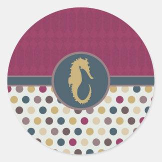 Tarjeta (2).jpg del lunar del Seahorse Pegatina Redonda