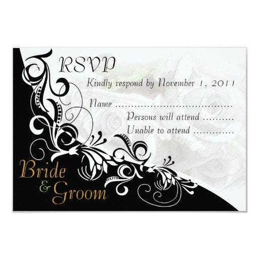 """Tarjeta #2B de RSVP de los rosas blancos novia y Invitación 3.5"""" X 5"""""""