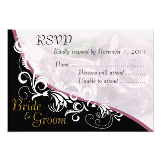 Tarjeta 2B de RSVP de los rosas de plata novia y