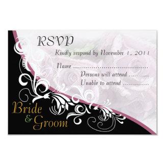 Tarjeta #2B de RSVP de los rosas de plata novia y Invitación 8,9 X 12,7 Cm