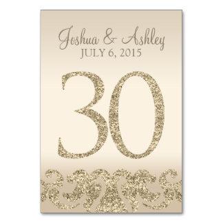 Tarjeta 30 de la Número-Tabla de la tabla del boda