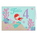 Tarjeta 4 castaños de la tabla de little mermaid