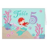 Tarjeta 5 castaños de la tabla de little mermaid