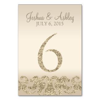 Tarjeta 6 de la Número-Tabla de la tabla del boda