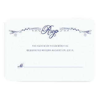 """Tarjeta a mano azul RSVP de la respuesta del Invitación 3.5"""" X 5"""""""