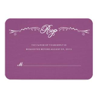 """Tarjeta a mano púrpura RSVP de la respuesta del Invitación 3.5"""" X 5"""""""