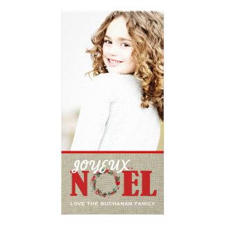Tarjeta adaptable de la foto de Joyeux Noel Tarjeta Fotografica Personalizada