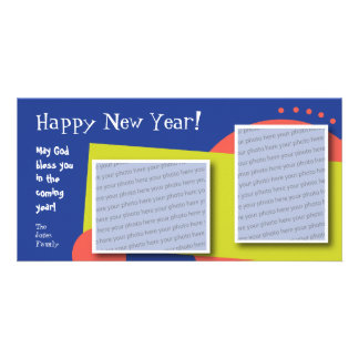 Tarjeta adaptable de la foto de la Feliz Año Nuevo Tarjeta Personal Con Foto