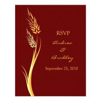 Tarjeta adaptable de la respuesta del boda del oto comunicados personales
