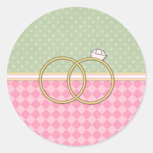 Tarjeta adaptable del anillo de bodas (2) pegatina redonda