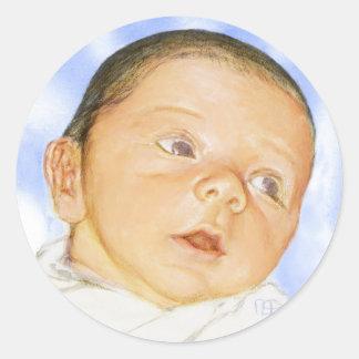 tarjeta adaptable del bebé pegatina redonda