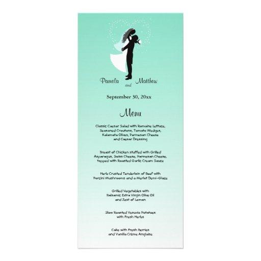 Tarjeta adaptable del menú del boda de Ombre del t Tarjeta Publicitaria