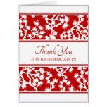 Tarjeta administrativa floral roja del día de los