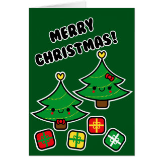 Tarjeta adorable de la familia del árbol de navida