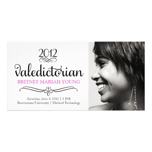 Tarjeta adornada de la foto del rosa del Valedicto Tarjetas Fotográficas Personalizadas