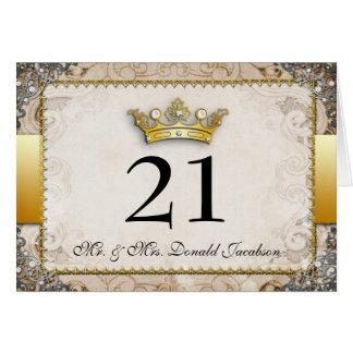 Tarjeta adornada del número de la tabla del boda d
