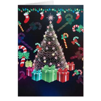 Tarjeta adornada muy bonita del árbol de navidad