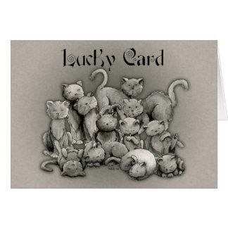 Tarjeta afortunada de 13 gatos negros